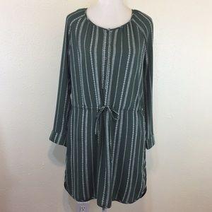 GAP Green Printed Button Front Shirt Dress
